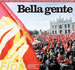 Manifestazione Fiom Flc/Cgil Piazza San Giovanni Roma
