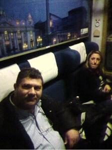 Operai della Bertone sul treno per Roma