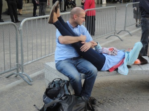Torino 24 maggio 2014. Ore 18.30 circa. Fra tenerezze e...crampi. Foto Romano Borrelli