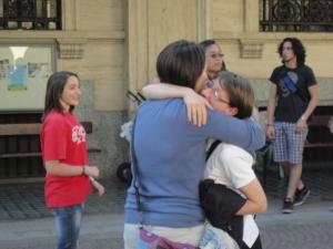 Torino 24 maggio 2014.Ore 18.30 Cortile Maria Ausiliatrice. Riabbracciarsi...un anno dopo. Foto Romano Borrelli