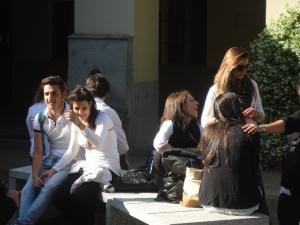 Torino 24 maggio 2014. Ore 19.00 Cortile di Maria Ausiliatrice. Aspettando, insieme. Foto Romano Borrelli
