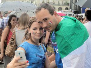 Torino 24-6-2014. Durante la partita dell'Italia-selfie P-Vittorio-Foto, R-Borrelli