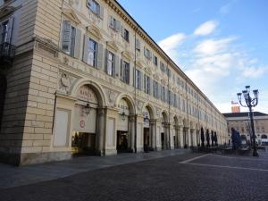 Torino. Piazza San Carlo. Angolo con la Sindone. Foto, Romano Borrelli