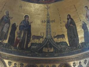 Roma 27 agosto 2014. San Giovanni in Laterano. Particolare cervi verso fonte d'acqua. Foto, Romano Borrelli