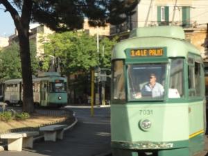 Roma 27 agosto 2014, tram in Piazza di Porta Maggiore. Foto, Romano Borrelli