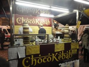 Torino 22 novembre 2014. Piazza San Carlo. CioccolaTo'. Choco-Kebab, foto, Romano Borrelli