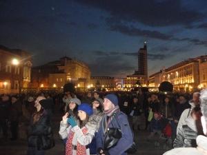 Torino 13 dicembre 2014. Palazzo Reale. In attesa delle poesie aeree. Foto, Romano Borrelli