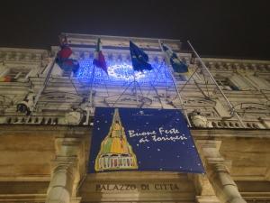 Torino 20 dicembre 2014. Il Comune, il Municipio augura ai torinesi Buone Feste. Foto, Romano Borrelli