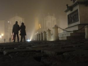 Torino 20 dicembre 2014. Nebbia in Piazza San Carlo. Foto, Romano Borrelli