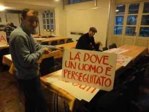 Torino 31 dicembre 2014, Serming, preparazione cartelli, foto, Romano Borrelli