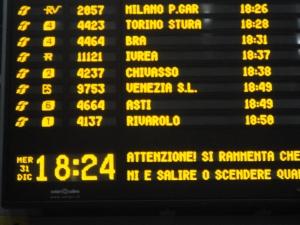 Torino 31 dicembre 2014, tabellone di Porta Susa, foto, Romano Borrelli