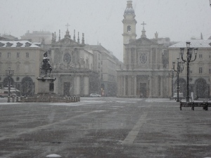 Torino, Piazza San Carlo sotto la neve. Foto, Romano Borrelli